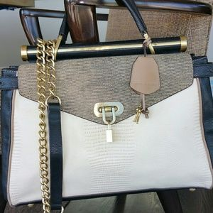 BCBG 3-Tone Faux Lizard Lock & Key Satch + Strap